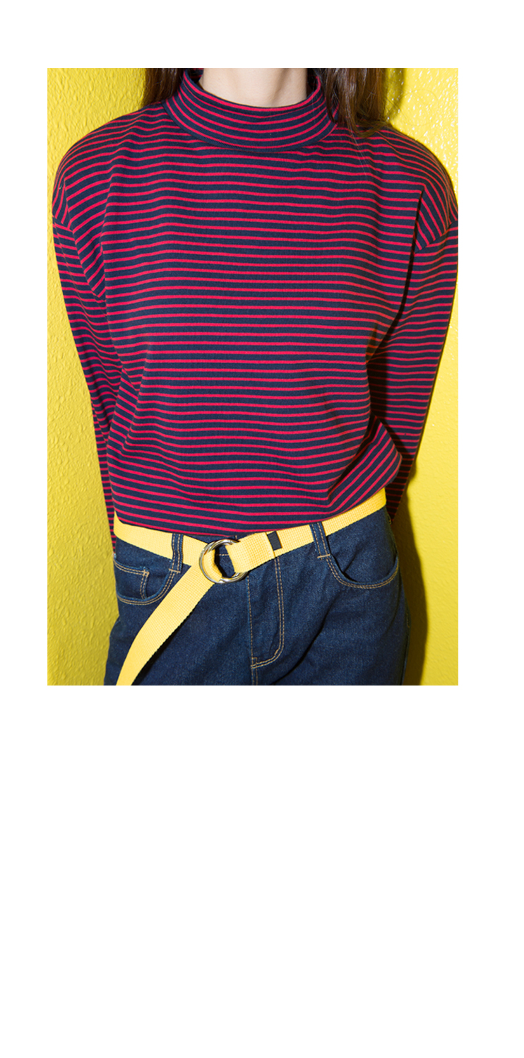 Striped High Neck Top|